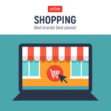 Banner with laptop. Page with online store open on laptop screen. Concept online shopping Royalty Free Stock Image