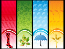 Banner with leaves, wheat ears, umbrella and Royalty Free Stock Photos