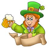Banner with leprechaun holding beer Stock Photography