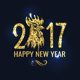 Banner with Lettering 2017 Chinese New Year. Gold glitter design. Vector illustration Royalty Free Stock Images