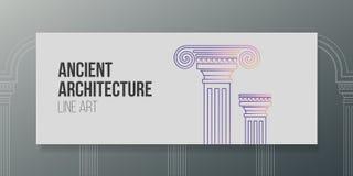 Banner lineart design vector illustration ancient architecture vector illustration