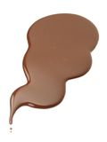 Banner of liquid chocolate on white background Stock Photo