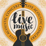 Banner for live music with acoustic guitar. Banner with acoustic guitar, inscription live music and the words live acoustic concert, written around with floral Stock Photos