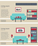 Banner of living room interior. Flat vector background. Two banners of living room in flat design. Modern interior with furniture. Background. Vector Stock Image