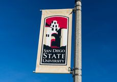 Banner and Logo on the Campus of San Diego State University Stock Photography