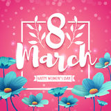 Banner with the logo for the International Women`s Day on pink background. Flyer for March 8 with the decor of flower. S. Invitations with square frame and blue Stock Illustration