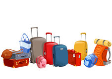 Banner with luggage, suitcases, backpacks, packages Stock Photo