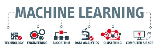 Banner machine learning concept illustration with icons stock illustration
