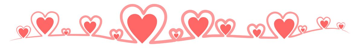 Banner made of red outline hearts Royalty Free Stock Photo