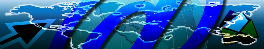 Banner mail and world map Royalty Free Stock Images