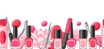 Banner with manicure tools. Nail polishes and professional equipment for manicure salons Royalty Free Illustration
