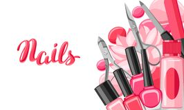 Banner with manicure tools. Nail polishes and professional equipment for manicure salons Vector Illustration