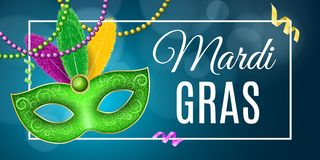 Banner for Mardi Gras carnival. Luxurious mask with colorful feathers. Festive poster, template. Cover with a banner frame. Multic. Olored ribbons, serpentine Stock Images