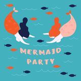 Banner for marine, sea theme. Mermaid party. Banner for party on the marine theme. Cute mermaids, marine animals. Two woman with fish tail are swimming in the Stock Photography