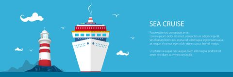 Banner of Marine Tourism. Cruise Ship and Lighthouse at the Ocean and Text ,Travel Concept, Vector Illustration Royalty Free Stock Photos