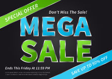 Banner Mega Sale vector illustration on black background Royalty Free Stock Photography