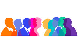 Banner of men and women in discussion  Stock Photos