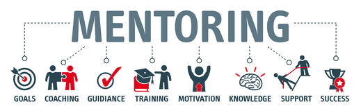 Banner mentoring concept. Mentoring concept. Chart with keywords and icons Stock Photography