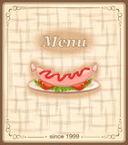 Banner for menu with sausage Stock Photo