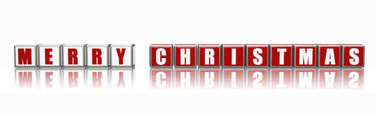 Banner Merry Christmas in 3d cubes Royalty Free Stock Photo