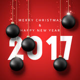 Banner Merry Christmas 2017. Happy new year. 2017. Christmas poster with balls. Greeting card design vector illustration Stock Photography