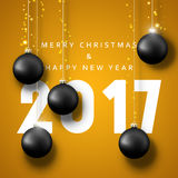 Banner Merry Christmas 2017. Happy new year. 2017. Christmas poster with balls. Greeting card design vector illustration Royalty Free Stock Photography