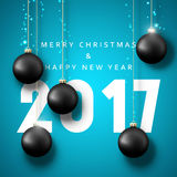Banner Merry Christmas 2017. Happy new year. 2017. Christmas poster with balls. Greeting card design vector illustration Stock Image