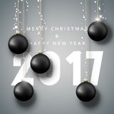 Banner Merry Christmas 2017. Happy new year. 2017. Christmas poster with balls. Greeting card design vector illustration Royalty Free Stock Photo