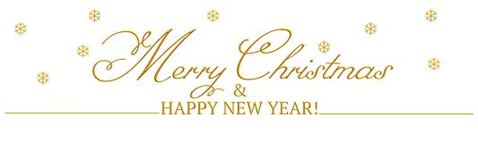 A banner with `Merry Christmas & Happy new year` written in gold stock illustration
