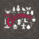 Banner Merry Christmas. Red lettering, white icons of deer head, Santa Claus, candle, shelter, snowman Royalty Free Stock Photo