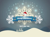 Banner Merry christmas with snow man and snow flake Royalty Free Stock Photos