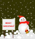 Banner Merry Christmas and a snowman Royalty Free Stock Images