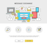 Banner messaging flat design. Conceptual horizontal banner information exchange. Remote communication computer, digital devices sms, e-mail and messages. Line Stock Photo