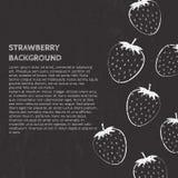 Banner met aardbeien en plaats voor uw tekst op zwarte achtergrond Vectorillustratie in uit lijnstijl stock illustratie