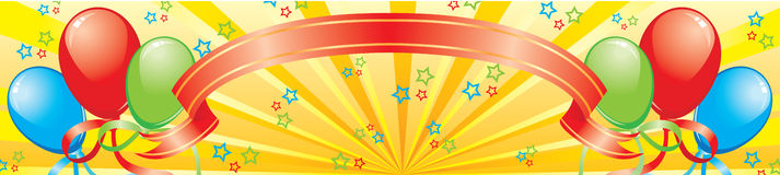 Banner met ballons, een band en sterren Royalty-vrije Stock Afbeeldingen