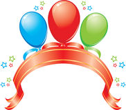 Banner met ballons, een band en sterren Stock Afbeelding