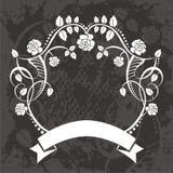 Banner met bloemen en wijnstokken stock illustratie