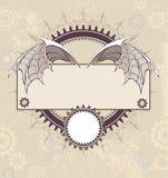Banner met een mechanische draakvleugels royalty-vrije illustratie