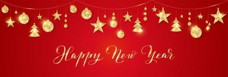 Banner met Gelukkige Nieuwjaarkalligrafie Gouden Kerstmis schittert decoratie op een koord stock illustratie