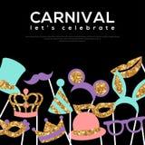 Banner met Gouden Carnaval-Maskers op Zwarte stock illustratie