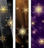 Banner met gouden sneeuwvlokken stock illustratie
