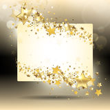 Banner met gouden sterren Stock Afbeeldingen