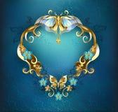 Banner met gouden vlinders stock illustratie