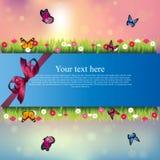 Banner met gras en bloemen Royalty-vrije Stock Foto
