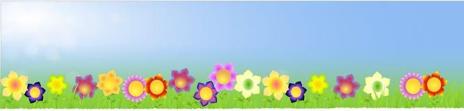 Banner met grote bloemen op de de lenteachtergrond