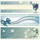 Banner met het Dansen Hippo, Lint en Wolk Stock Fotografie