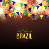Banner met inschrijvingsonthaal aan Brazilië Stock Afbeeldingen