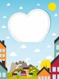 Banner met kleine stad Stock Afbeeldingen