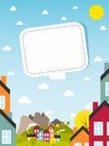 Banner met kleine stad Stock Afbeelding