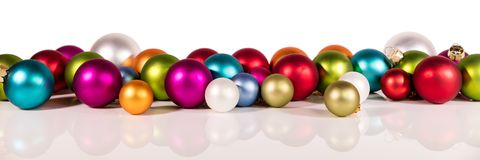 Banner met kleurrijke Kerstmisballen Stock Afbeeldingen